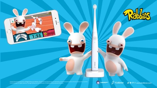 The Raving Rabbids star in Rabbid Invasion on the Kolibree toothbrush app.