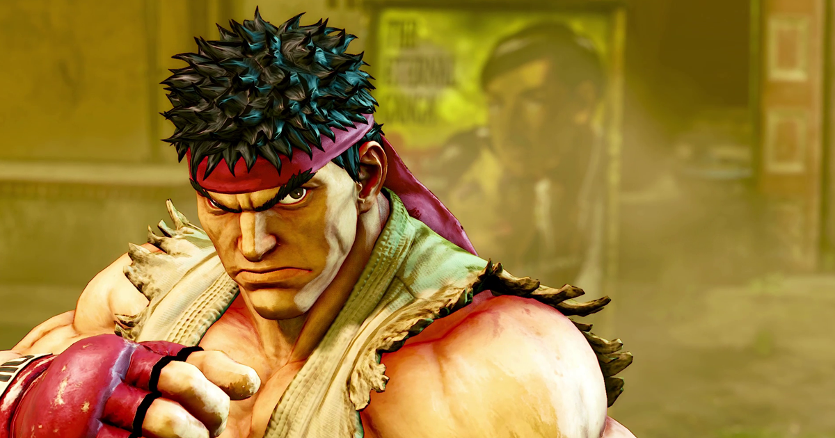 Street Fighter V Ryu close up yellow background