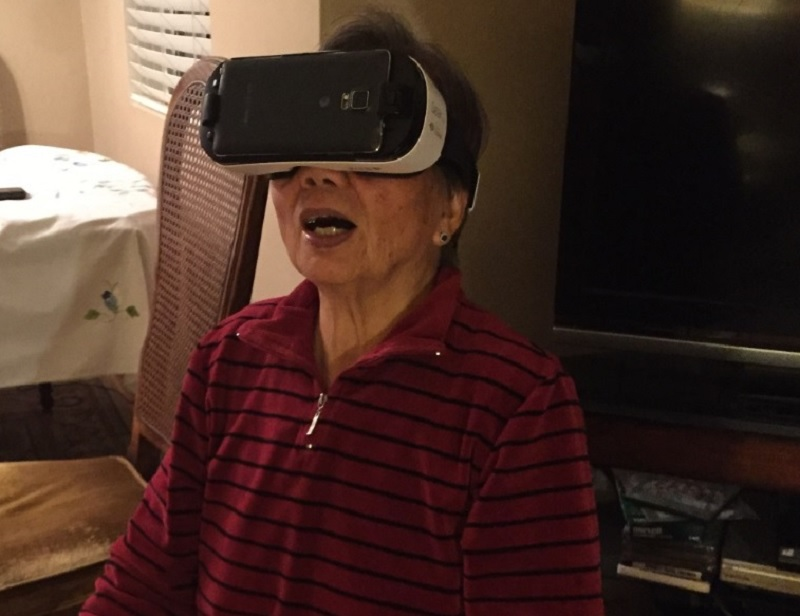 My mother-in-law Tan Chin, 81, tries out the Samsung Gear VR.