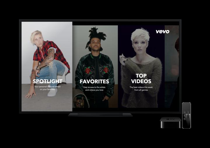 Vevo's new tvOS app for Apple TV.