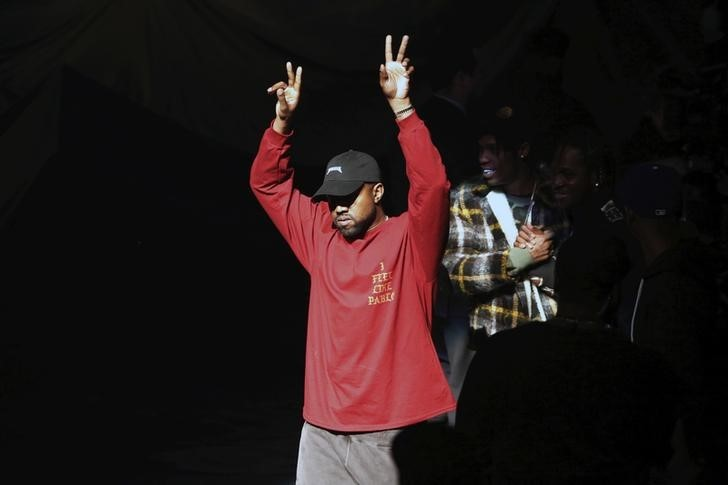 "Kanye West acknowledges attendees before his Yeezy Season 3 Collection presentation and listening party for the ""The Life of Pablo"" album during New York Fashion Week February 11, 2016."