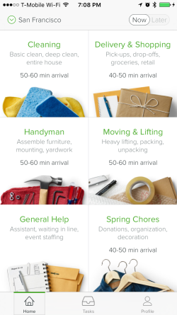 TaskRabbit iOS Real-Time Screen