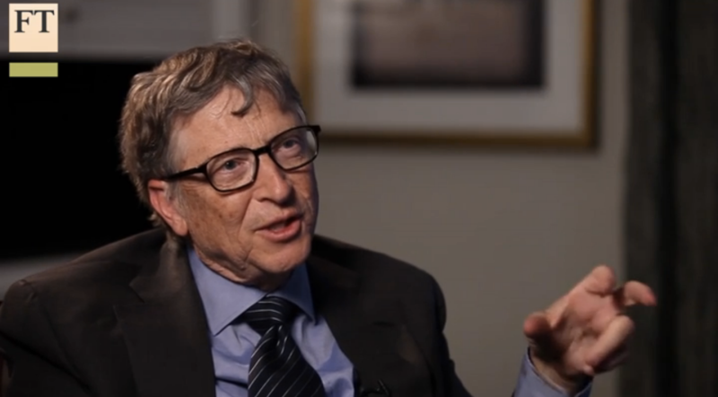 Microsoft cofounder and former chief executive Bill Gates speaks with the Financial Times in a video interview in February 2016.