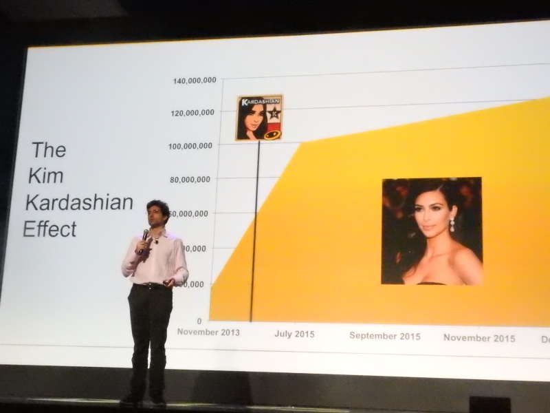 Niccolo De Masi, CEO of Glu Mobile, shows growth of Kim Kardashian: Hollywood game at the DICE Summit.