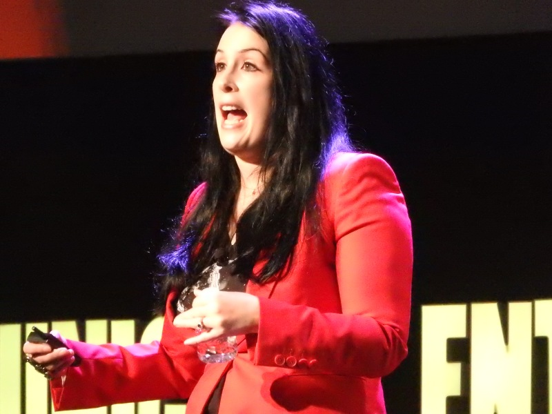 Rhianna Pratchett, writer of Rise of the Tomb Raider, at the DICE Summit.