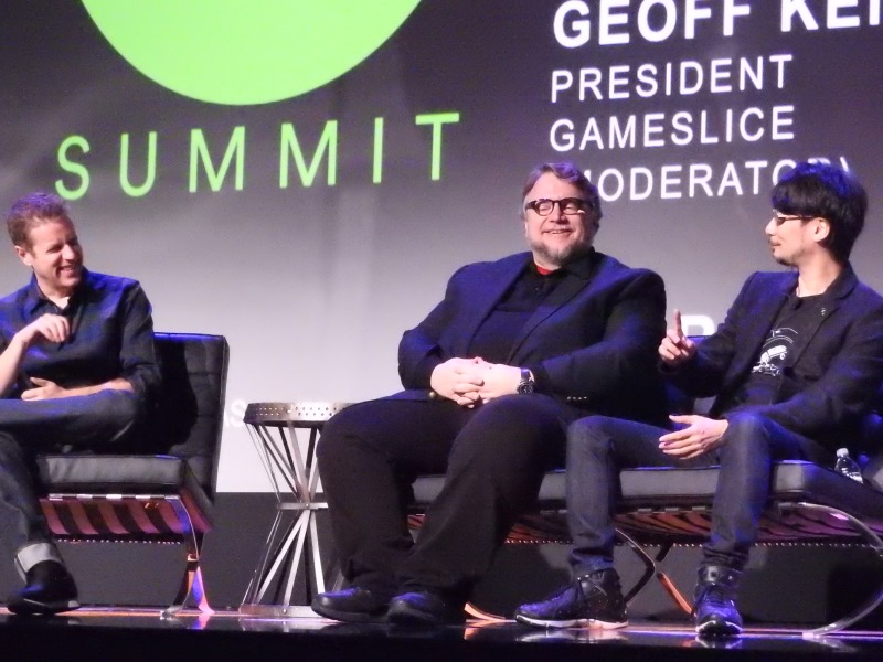 Geoff Keighley (left), Guillermo Del Toro, and HIdeo Kojima at the DICE Summit.