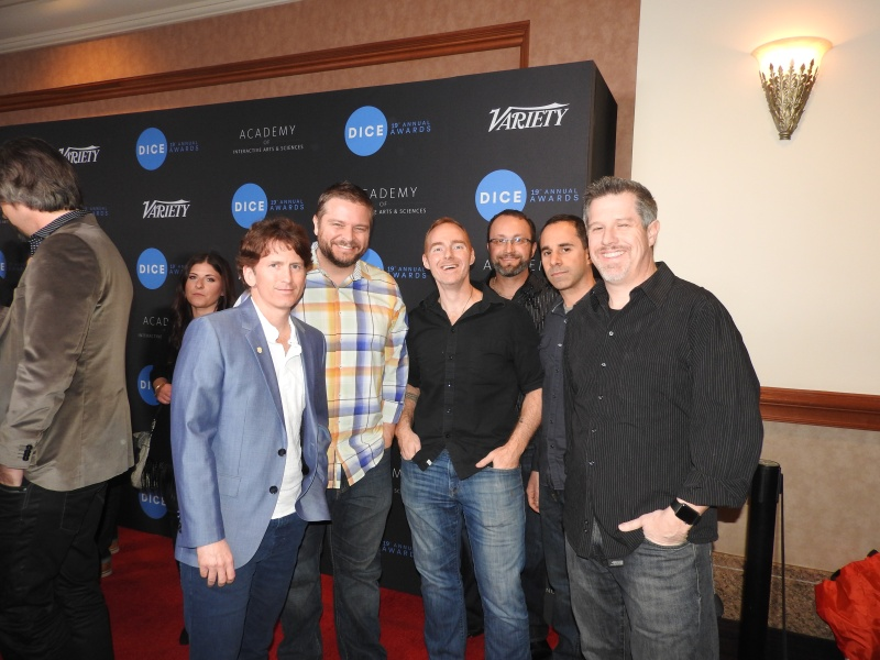 Todd Howard (far left) and the leaders of Bethesda Game Studios' Fallout 4 team at the DIC Awards.