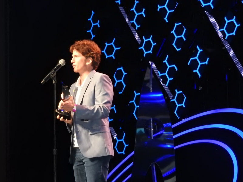 Todd Howard, creative director at Bethesda Game Studios, accepts Game of the Year award at the DICE Awards.
