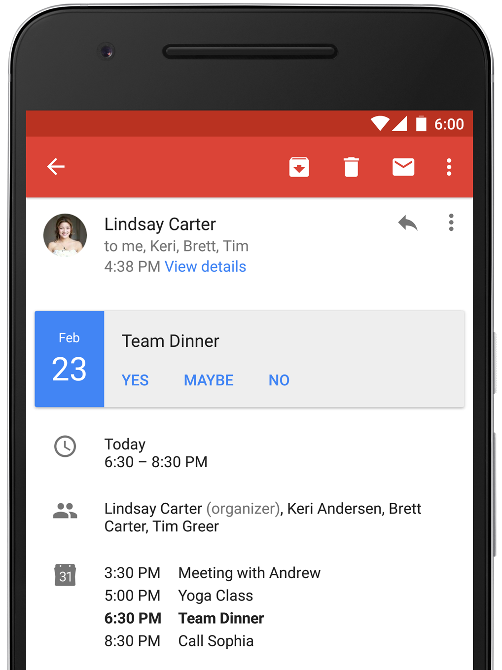The new instant RSVP feature in Gmail on Android.
