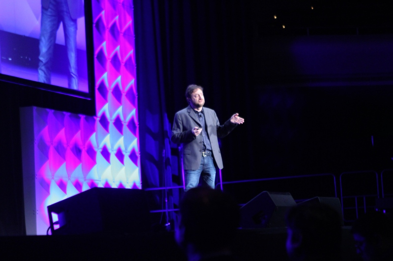 Yahoo's senior vice president of publishing products Simon Khalaf on stage at the company's mobile developer conference in San Francisco, Calif. on February 18, 2016.
