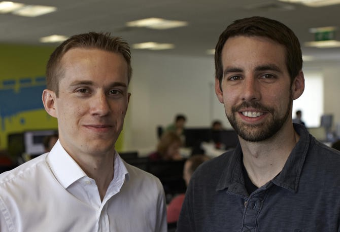 From left, SwiftKey founders Jon Reynolds (CEO) and Ben Medlock (CTO)