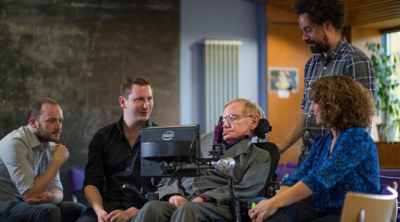 SwiftKey engineers Stephen Spencer and Joe Osborne in Professor Stephen Hawking's Cambridge office