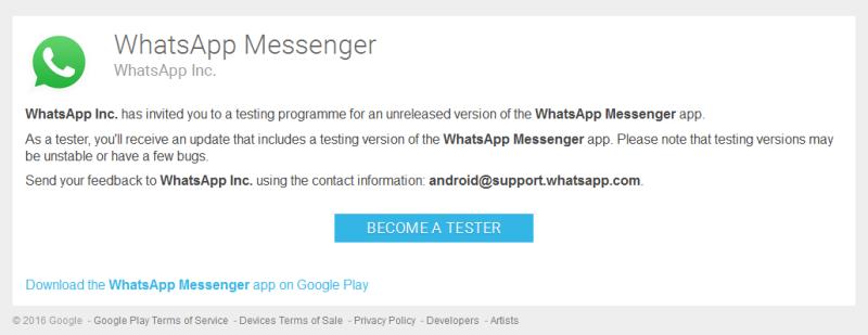 WhatsApp: Beta
