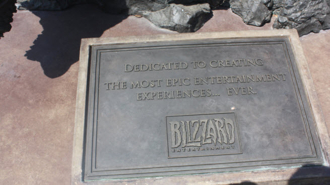 The plaque on the statue at Blizzard's headquarters shows the company's focus on gamers.