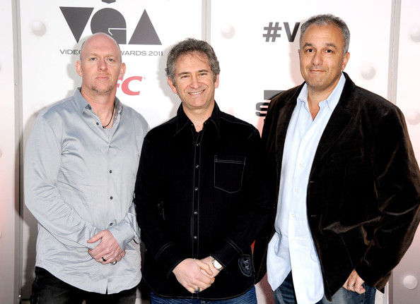 Blizzard founders (left to right) Frank Pearce, Mike Morhaime, and Allen Adham.