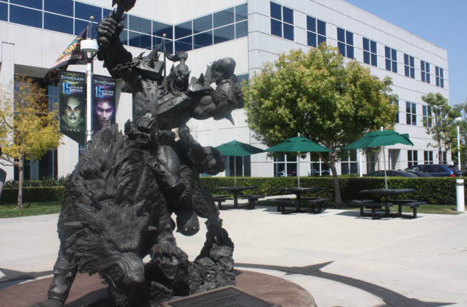 A Warcraft statue at Blizzard's headquarters in Irvine, Calif.