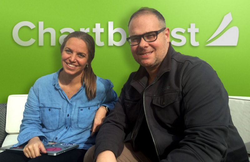 Maria Alegre of Chartboost and Marco Mereu of Roostr.