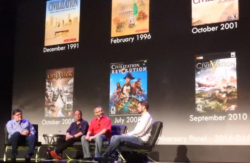 Civilization game designers Bruce Shelley, Sid Meier, Brian Reynolds, and Soren Johnson.