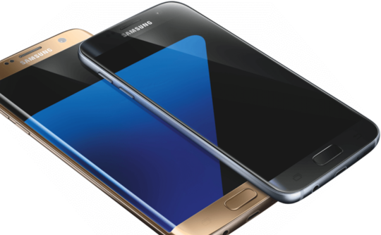 The Edge device is on the bottom and has that curved part of the screen for extra content.