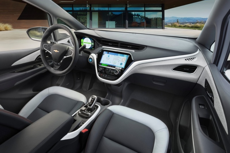 The fancy dashboard for the Chevrolet Bolt electric car.