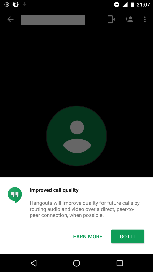 Google confirms Hangouts will now use peer-to-peer connections to