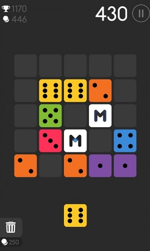 In Merged!, you try to match colored dice.