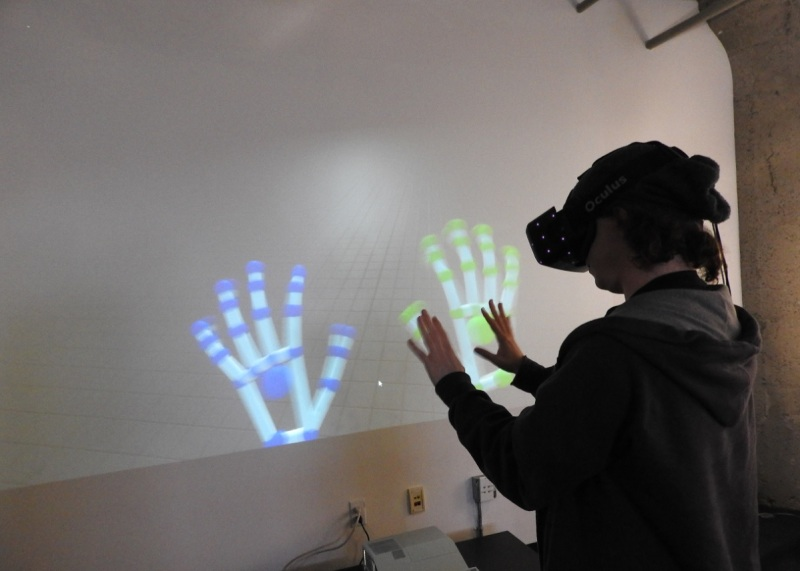 David Holz, founder of Leap Motion, shows off hand-tracking in VR.