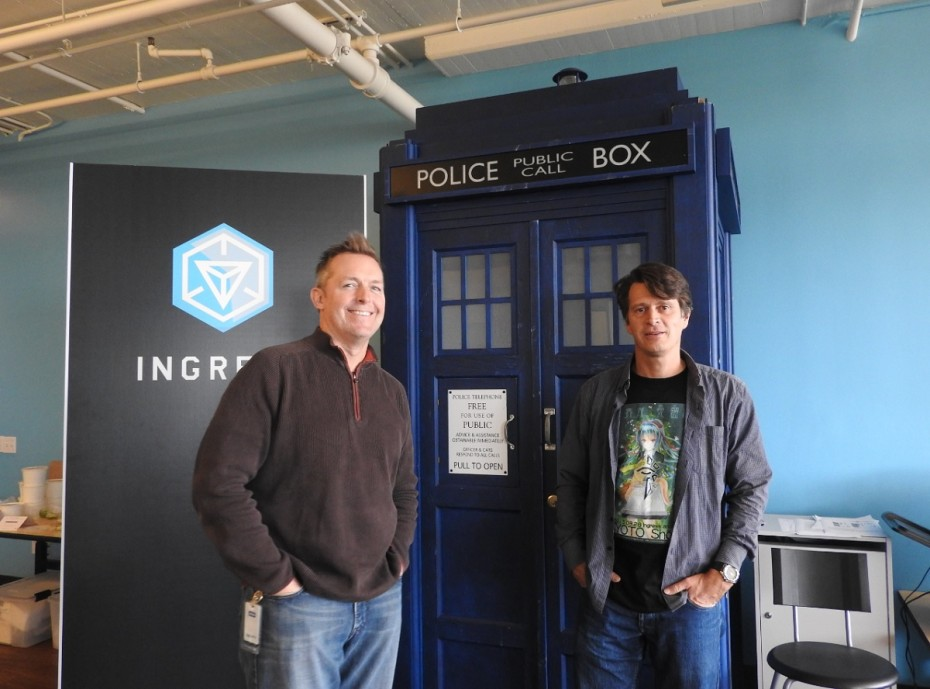 Niantic chief marketing officer Mike Quigley and CEO John Hanke (right) at Niantic headquarters.