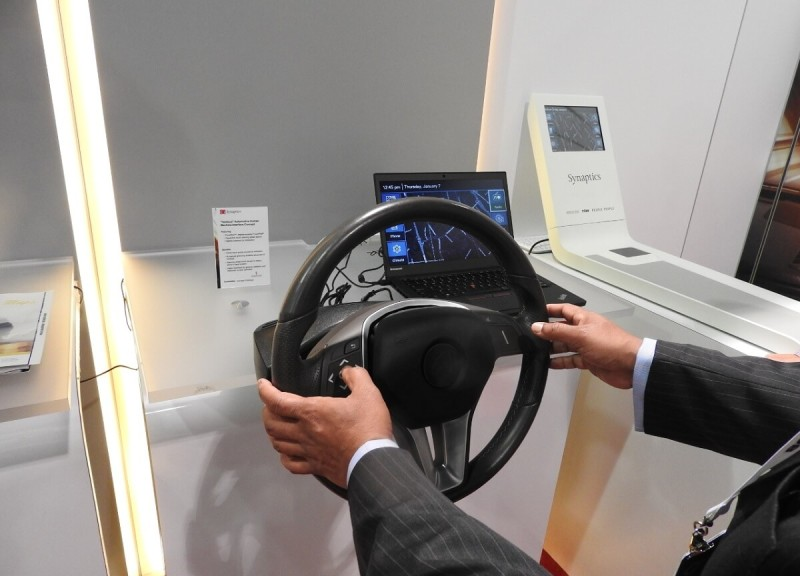 Synaptics can give you haptic feedback on your steering wheel.