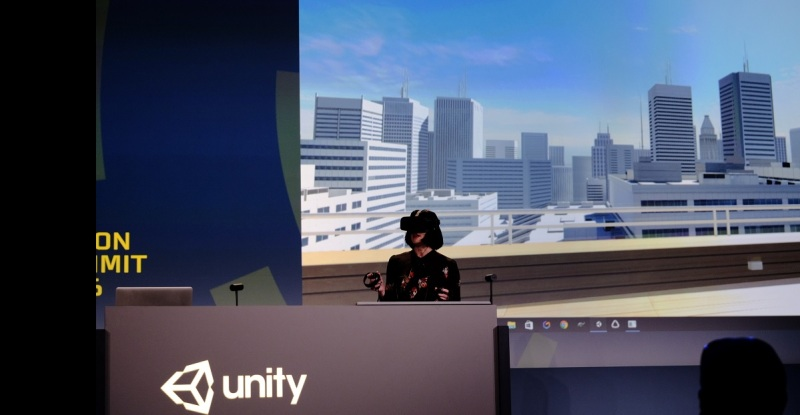 Timoni West, a principal game designer at Unity, is inside a game she is making in VR.