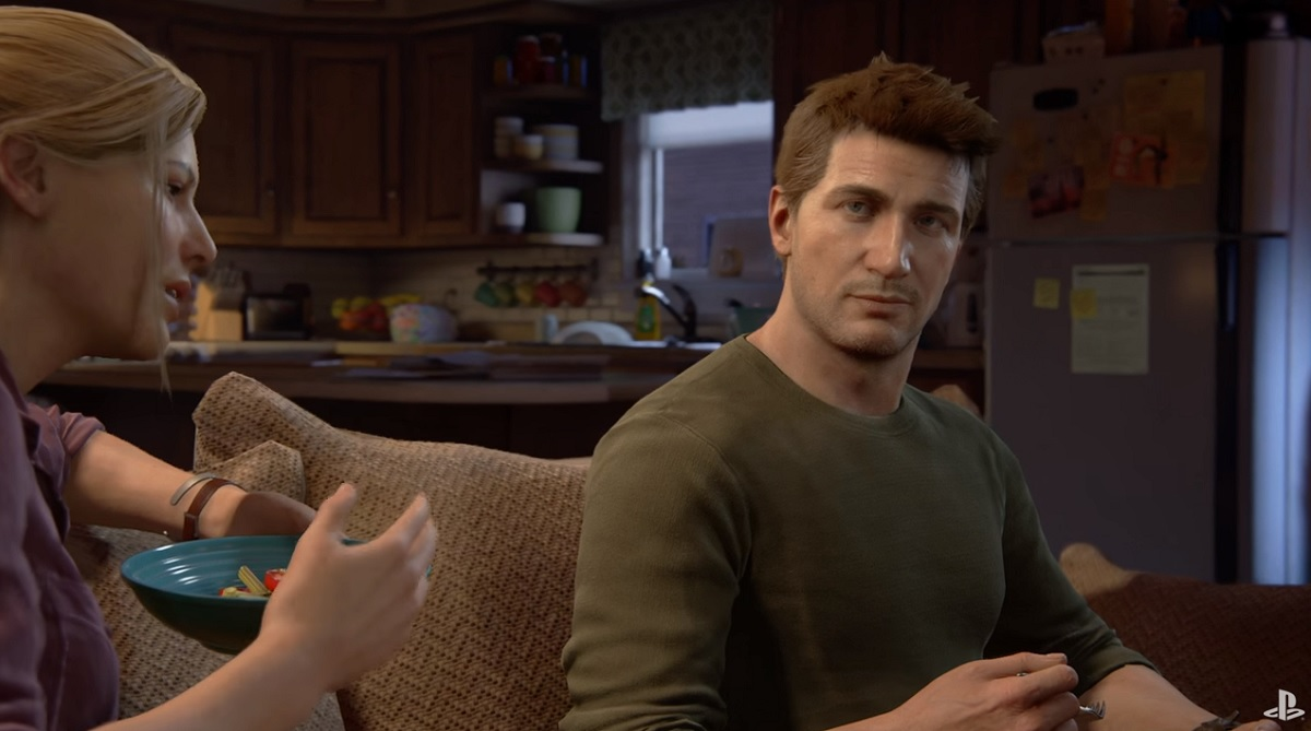 Uncharted 4: A Thief's End depicts Nathan Drake's choice between his criminal brother Sam and his love Elena.