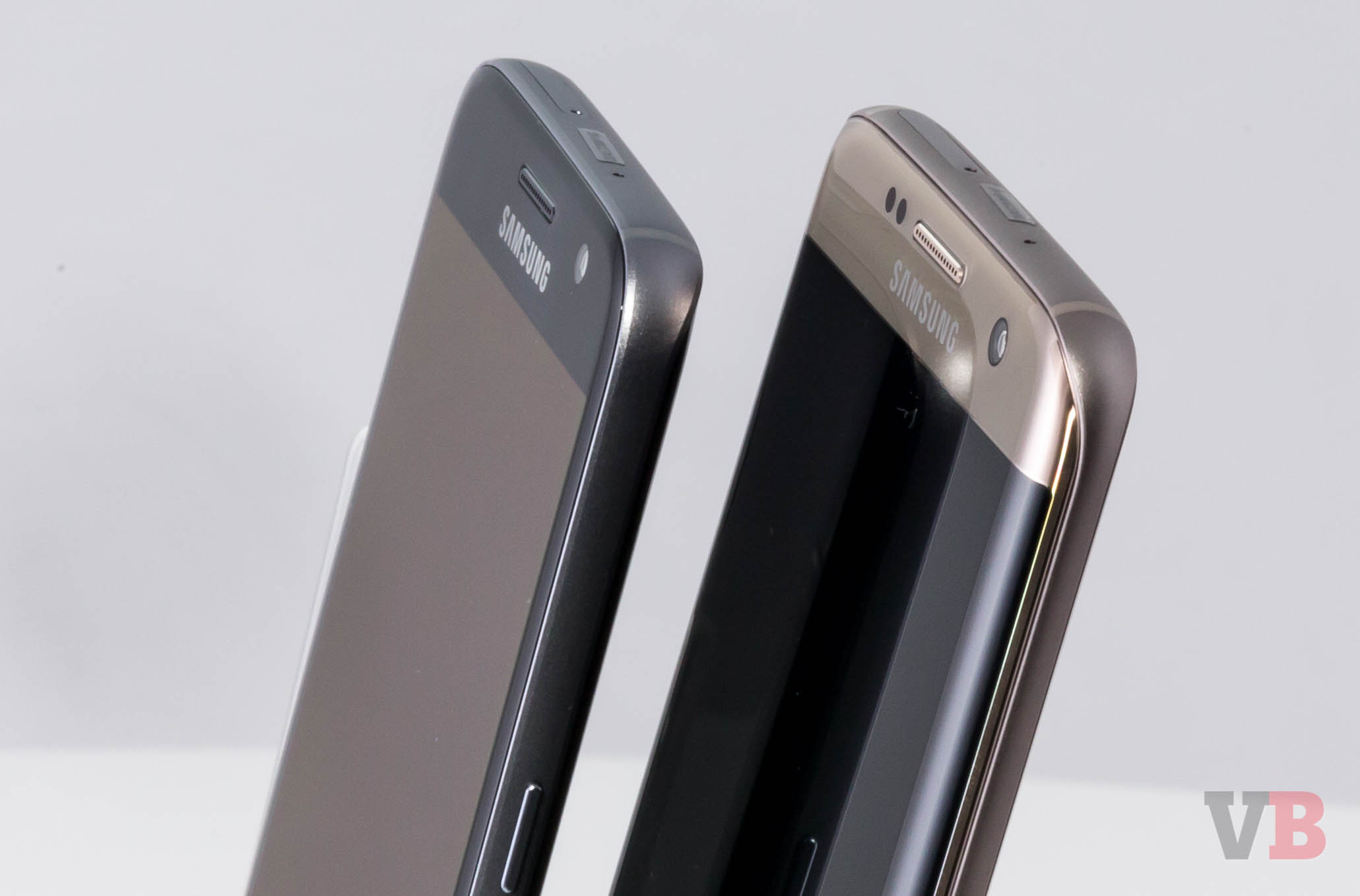 Close up of the Samsung Galaxy S7 and S7 edge.