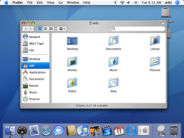 Mac OS X Tiger, released in 2005.
