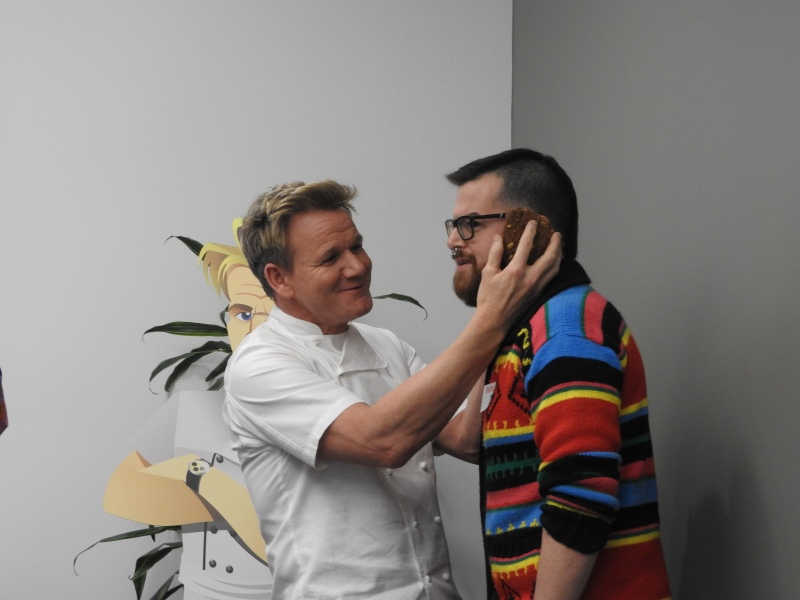"Gordon Ramsay playfully creates an ""idiot sandwich"" with a journalist."