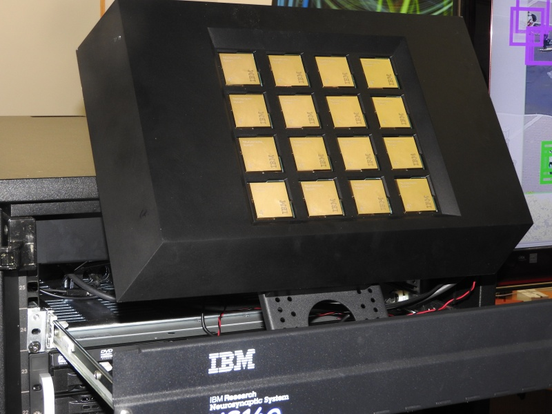 This system has 16 IBM TrueNorth brain-inspired chips.