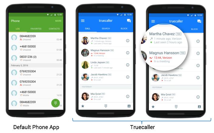 Default Phone App vs. Truecaller