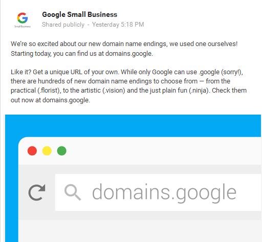 Google Domain Announcement