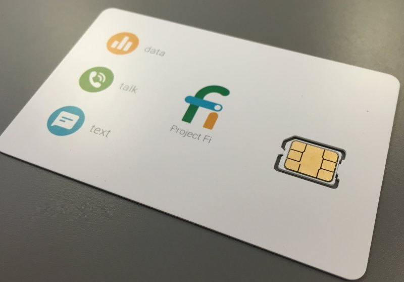 A Google Project Fi SIM card.