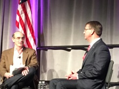 U.S. Secretary of Defense Ashton Carter (right) speaks with Ted Schlein, general partner at Kleiner Perkins Caufield & Byers, at RSA 2016.