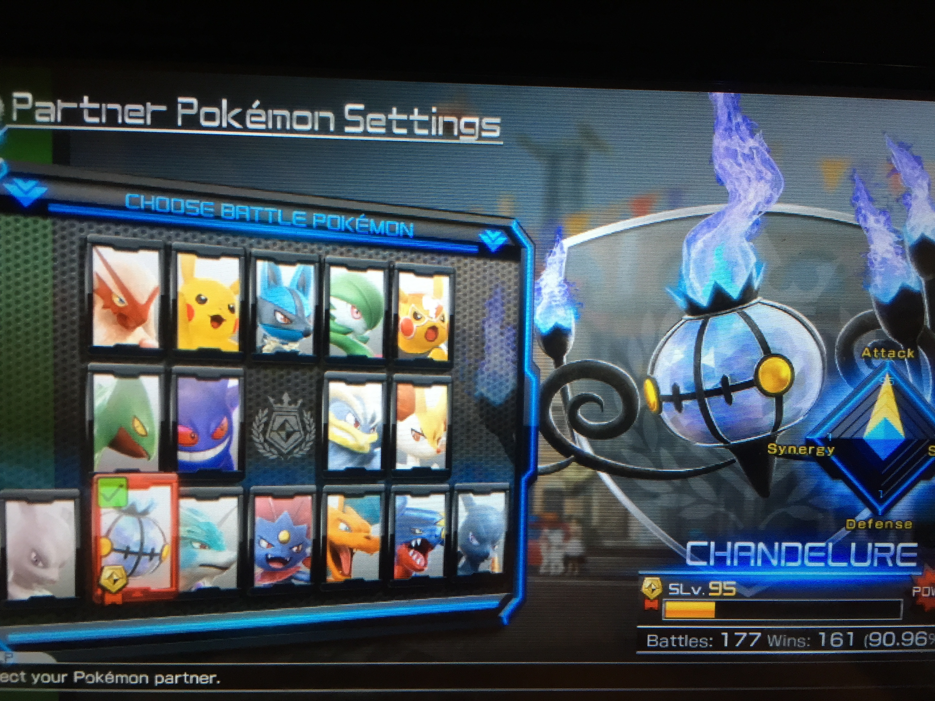 The (lacking) Pokkén roster: Blaziken, Pikachu, Lucario, Gardevoir, Pikachu Libre, Sceptile, Gengar, Machamp, Braixen, Mewtwo, Chandelure, Suicune, Weavile, Charizard, Garchomp, and Shadow Mewtwo.