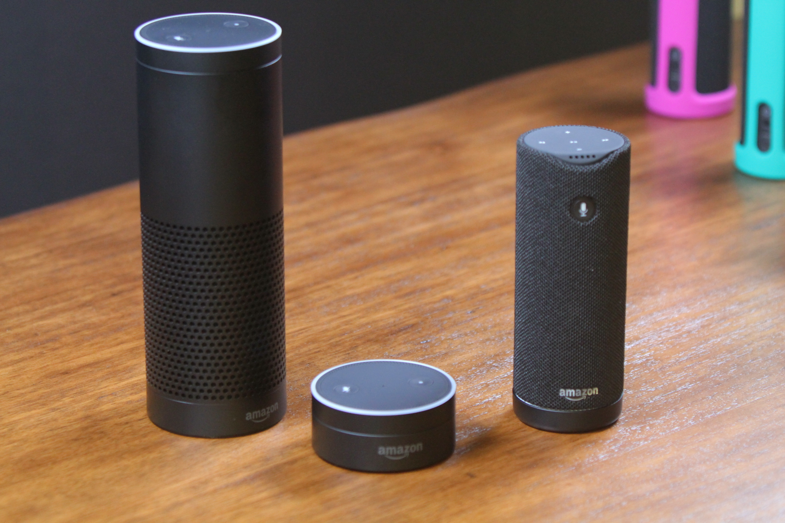 From left to right: Amazon Echo, Echo Dot, and Tap