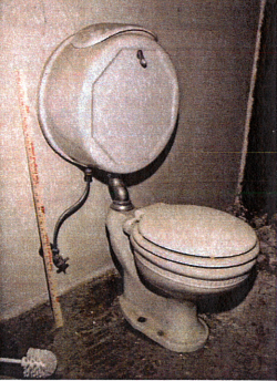 """Toilet salvaged from the Jackling House by the Town of Woodside."""""""
