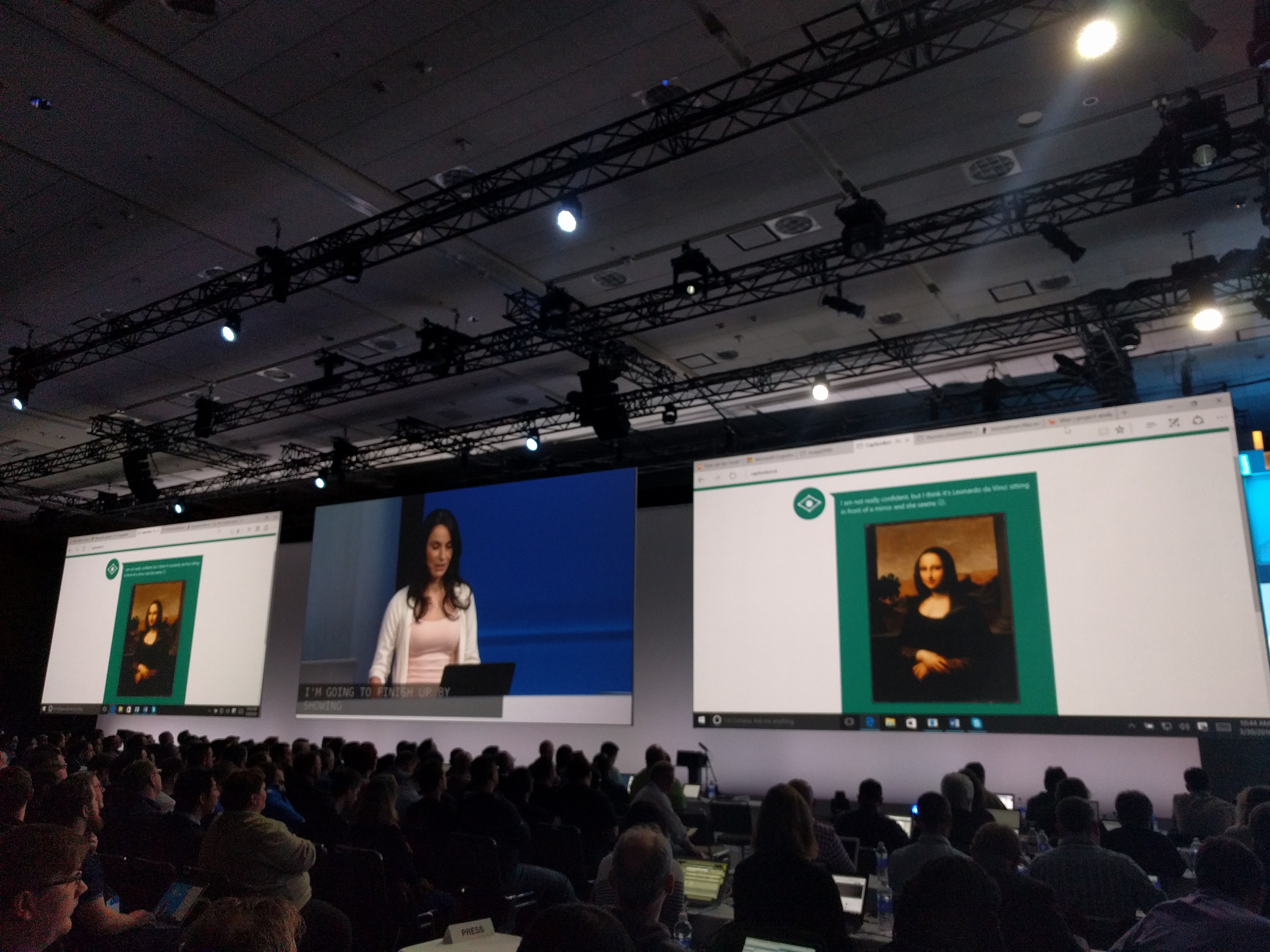 Microsoft senior program manager lead Cornelia Carapcea demonstrates one of the Cognitive Services at the Build conference in San Francisco on March 30.