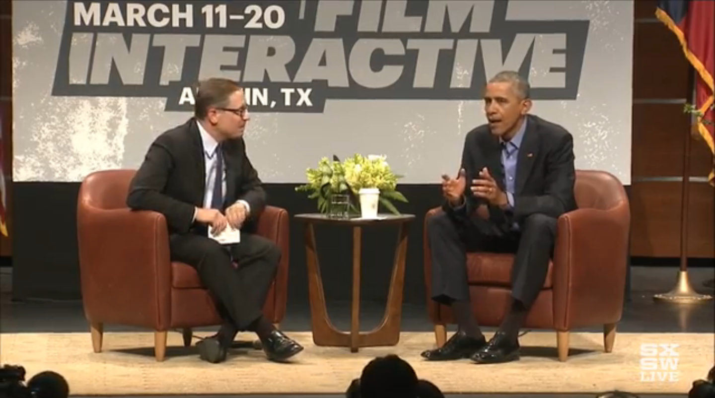 President Barack Obama speaks at the South by Southwest Interactive conference in Austin, Texas on March 11, 2016