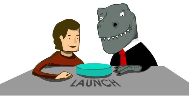 An illustration that symbolically shows a company (dinosaur) with an entrepreneur (startup) working together to launch a product.