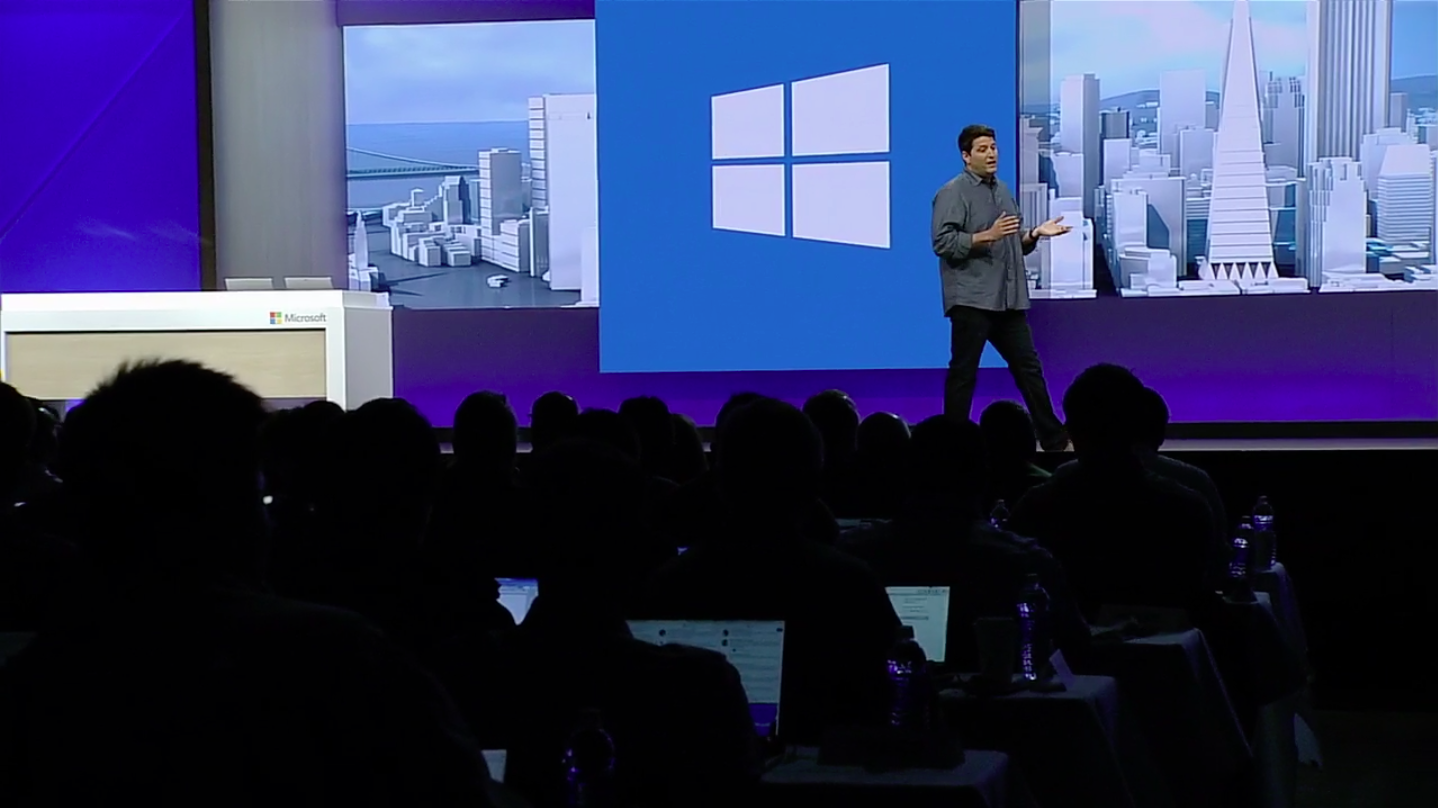 Microsoft executive vice president of the Windows and Devices Group Terry Myerson on stage at the Build 2016 developer conference in San Francisco, Calif. on March 30, 2016