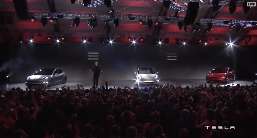 Musk with Tesla Model 3