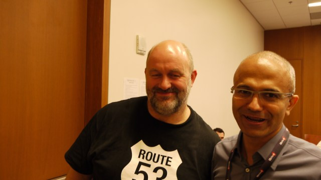 Werner Vogels, left, chief technology officer of Amazon.com, and Satya Nadella, chief executive of Microsoft.