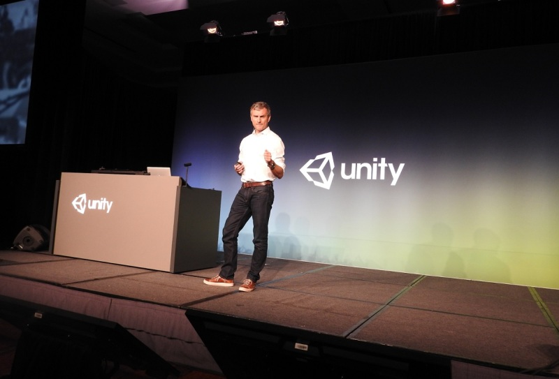 Clive Downie, CMO of Unity, on stage at the Game Developers Conference.