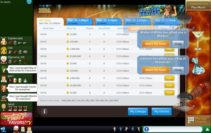 FlowPlay's All Star Daily Fantasy social sports game.